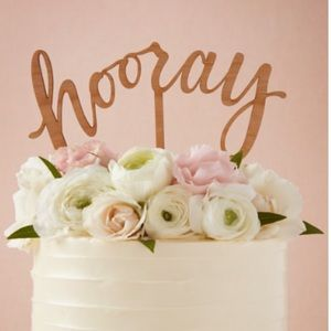 BHLDN Hooray Wedding Cake Topper Wooden NWT Party